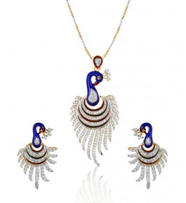 American Diamond Gold Plated Pendant Set