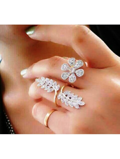 American Diamond Gold Plated Flower Design Ring For Women & Girls By Fast India Shop