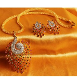 American Diamond Multicolor Pendant with Earrings for Girls & Women By Fast India Shop