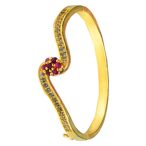 Glitters 22 Ct Gold Plated  Pleasing Ruby and CZ Bangle Kada for Women