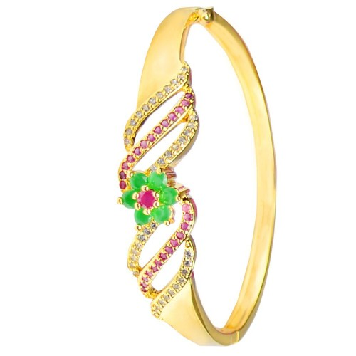 Glitters 22 Ct Gold Plated Floral Design Ruby and CZ Bangle Kada for Women