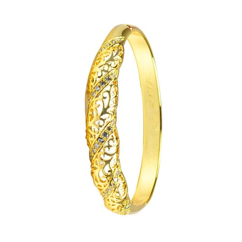 Glitters 22 Ct Gold Plated Floral Design CZ Bangle Kada for Women