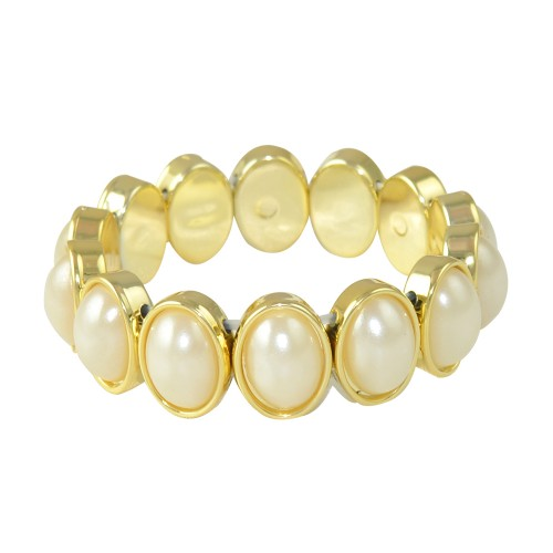 Glitters  Ivory Colour Oval Moon Stone Adjustable Fashion Bracelet