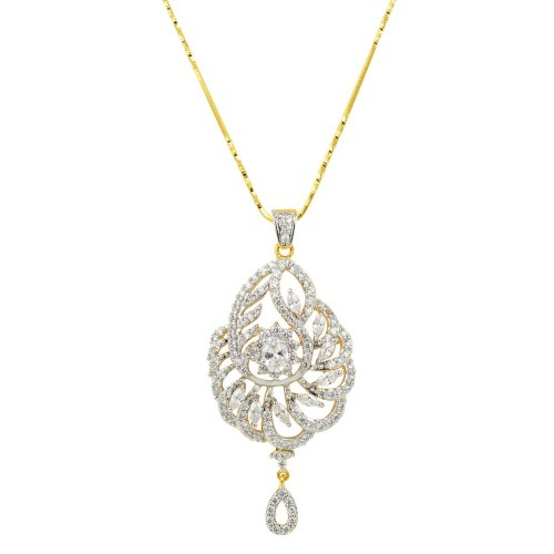 Glitters 22 Ct  Gold Plated Pendant Set with Ring for Women