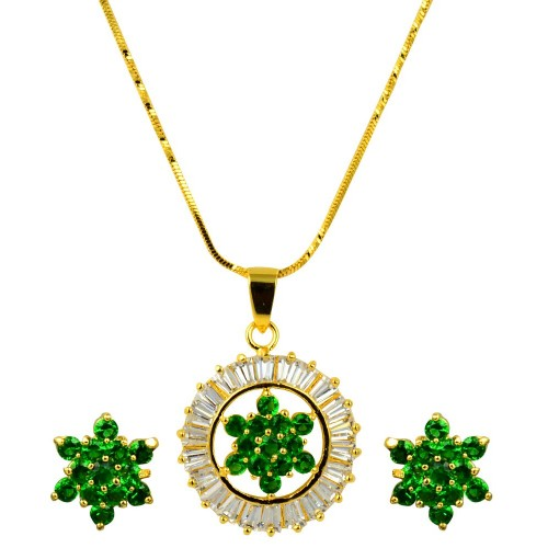 Glitters 22 Ct  Gold Plated Floral Design Emerald and CZ Pendant Set for Women