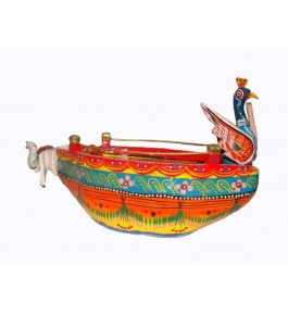 Varanasi Wooden Lacquerware & Toys Colorful Peacock Shape Boat/Naav By Om Handicrafts