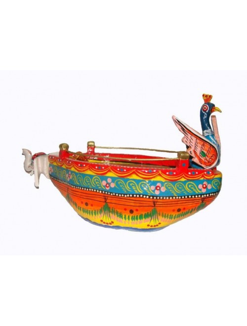 Handmade Wooden Colorful Peacock Shape Boat/Naav By Om Handicrafts