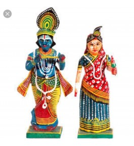 Varanasi Wooden Lacquerware & Toys  Colorful Radha-Krishna By Om Handicrafts