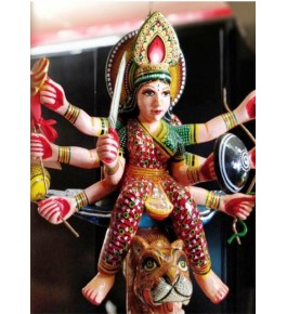 Varanasi Wooden Lacquerware & Toys Colorful Maa Durga By Om Handicrafts