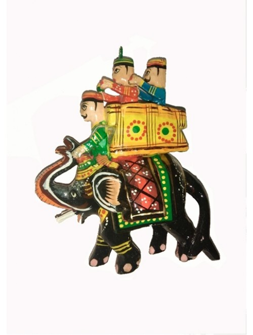 Varanasi Wooden Lacquerware & Toys Colorful Elephant By Om Handicrafts