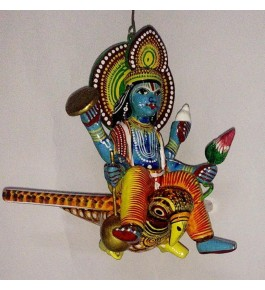 Handmade Wooden Colorful Vishnu Ji Sitting On The Owl By Om Handicrafts