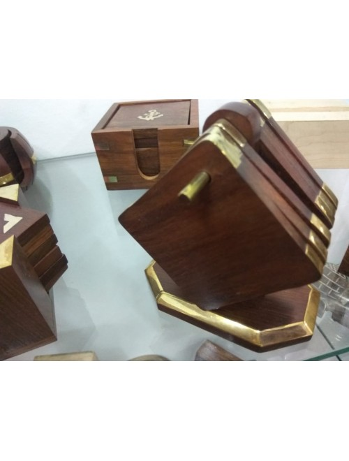 Hand Crafted Wooden Tea Coaster (Set of 6) By Osa Exim Pvt. Ltd.