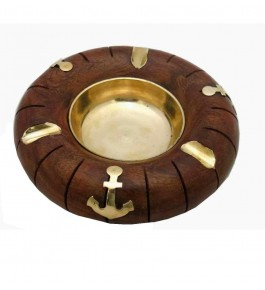Hand Crafted Wood & Brass Ashtray By Osa Exim Pvt. Ltd.