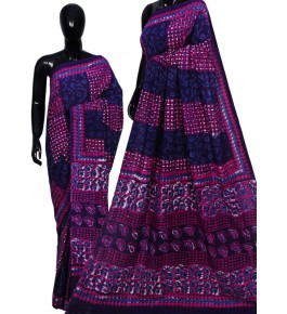 Hand Block Printing Cotton Saree For Women By Mangaleshwar
