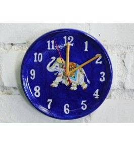 Handmade Ceramic Blue Pottery Wall Clock By Saadgee