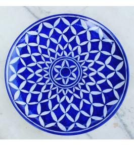 Blue Pottery Handmade Beautiful Design Printed Ceramic Plate For Wall Decor
