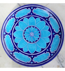 Handmade Ceramic Blue Pottery Wall Plate By Saadgee