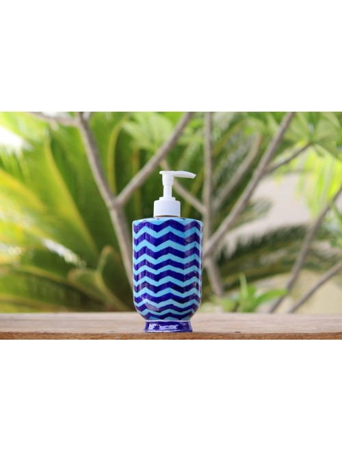 Blue Pottery Handmade Ceramic Soap Dispenser By Saadgee