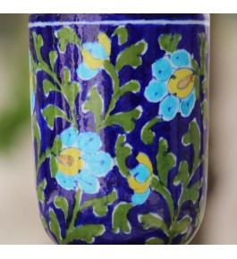 Blue Pottery Handmade Beautiful Flower Print Ceramic Soap Dispenser