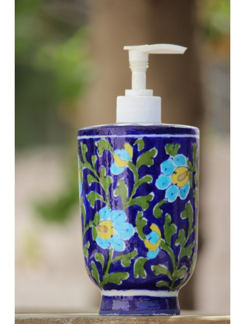 Handmade Ceramic Blue Pottery Soap Dispenser By Saadgee