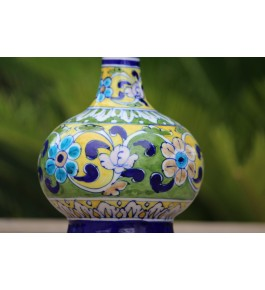 Blue Pottery Handmade Beautiful Colorful Ceramic Surahi Flower Vase