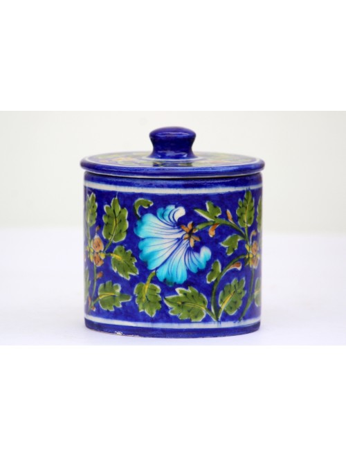 Blue Pottery Handmade Flower Print Ceramic Container Jars