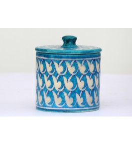 Handmade Ceramic Blue Pottery Container Jars By Saadgee