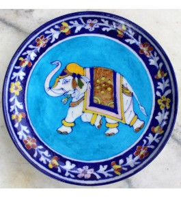 Blue Pottery Handmade Beautiful Elephant Printed Ceramic Wall Plate