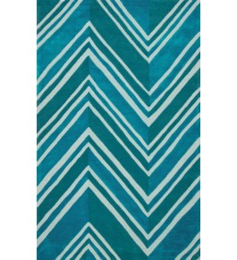 Hand Woven Turquoise Carpet Of Bhadohi (8x5 ft)