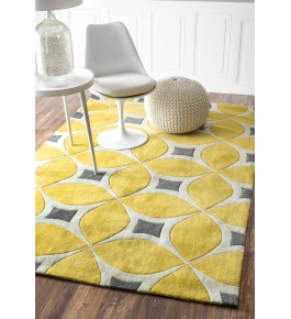 Hand Tufted Yellow Carpet Of Bhadohi (8x5 ft)