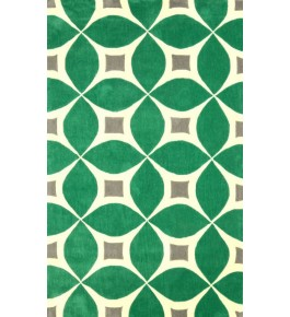 Hand Tufted Green Carpet Of Bhadohi (8x5 ft)