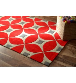 Hand Tufted Red Carpet Of Bhadohi (8x5 ft)