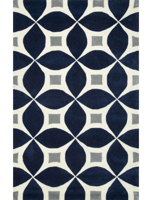 Hand Tufted Navy Blue Carpet Of Bhadohi (8x5 ft)