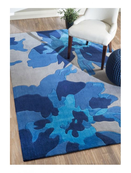 Hand Tufted Blue Carpet Of Bhadohi (8x5 ft)