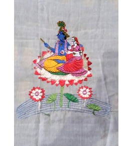Chamba Rumal Radha-Krishna Silk Thread Embroidery By Indu Sharma