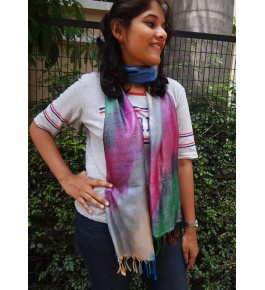 Banarasi Handloom Tanchoi Silk Multicolor Stole For Women
