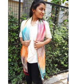 Banarasi Tanchoi Silk Multicolor Stole For Women
