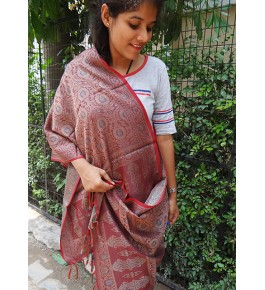 Banarasi Powerloom Art Silk Brown Stole For Women