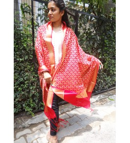 Banarasi Power-loom Jangla Art Silk Red Dupatta For Women