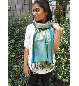 Banarasi Power-loom Tanchoi Turquoise Silk Stole For Women