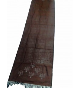 Hand Woven Cotton Brown Tangaliya Shawl For Women