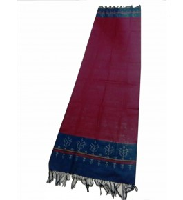 Hand Woven Cotton Maroon Tangaliya Shawl For Women