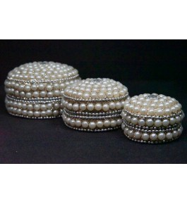 Handcrafted Aluminium Pearl Jewellery Box (Set Of 3) By Indian Handicrafts