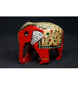 Handcrafted Wooden Colorful Elephant Showpiece By Indian Handicrafts