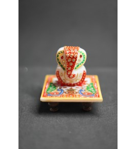 Handcrafted Marble Colorful Ganesha On The Chouki By Indian Handicrafts