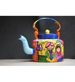 Handcrafted Colorful Aluminium Kettle Showpiece By Indian Handicrafts