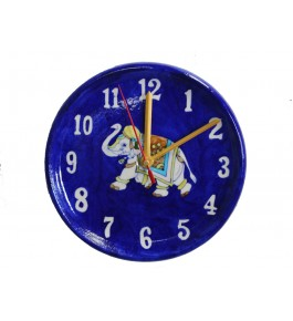 Handmade Ceramic Blue Pottery Wall Clock By Rajasthani Art & Craft