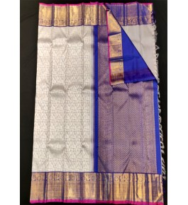 Handloom Traditional Kanchipuram Zari Beautiful Blue Silk Saree for Women