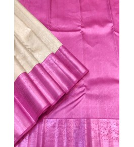 Handloom Traditional Kanchipuram Zari Beautiful Pink Silk Saree for Women