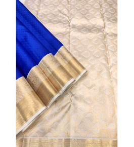 Handloom Traditional Kanchipuram Blue Silk Saree with Golden Border for Women